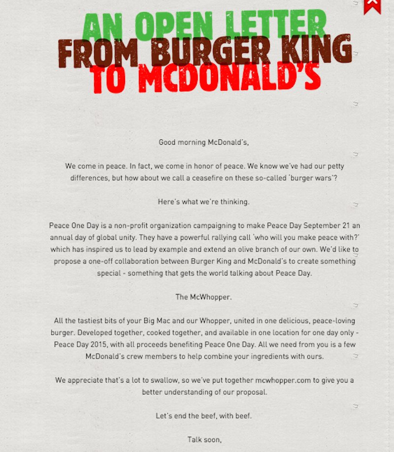Burger King Launches Peace Day Burger Proposing Peace For One Day ...